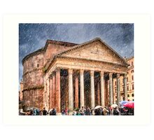 Ancient Roman Pantheon In The Rain Art Print