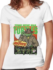 Ninja Turtles Retro First Movie 1990 Raphael Women's Fitted V-Neck T-Shirt