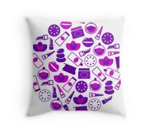 Cosmetic design elements and icons : purple vintage design only in our Designers Shop Throw Pillow