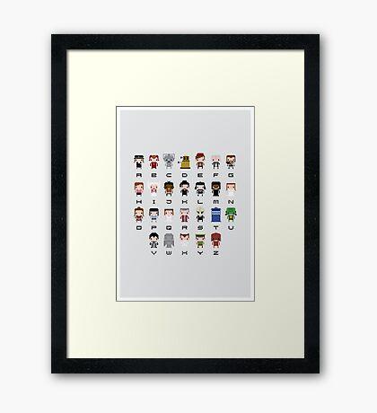 Doctor Who Alphabet Framed Print