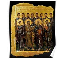 Twelve Disciples, Synaxis, Christianity, Twelve Apostles, Russian, 14th century, Moscow Museum. Poster