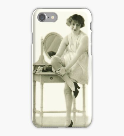 A portrait of a 20s flapper girl sitting next to her dressing table iPhone Case/Skin