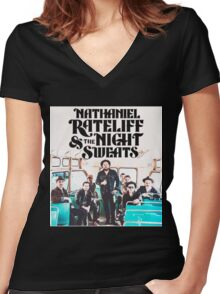 NATHANIEL RATELIFF AND THE NIGHT SWEATS Women's Fitted V-Neck T-Shirt