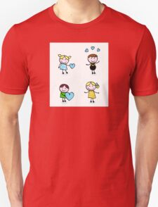 Vector Illustration of doodle retro kids isolated on white Unisex T-Shirt