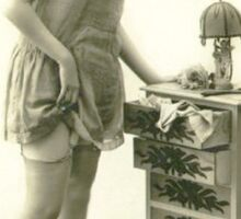 A 1920s Flapper Girl standing next to a set of drawers  Sticker