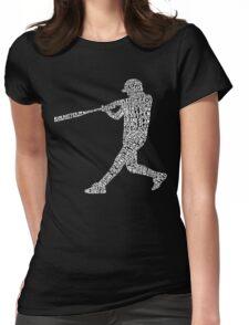 Baseball Softball Player Calligram Womens Fitted T-Shirt
