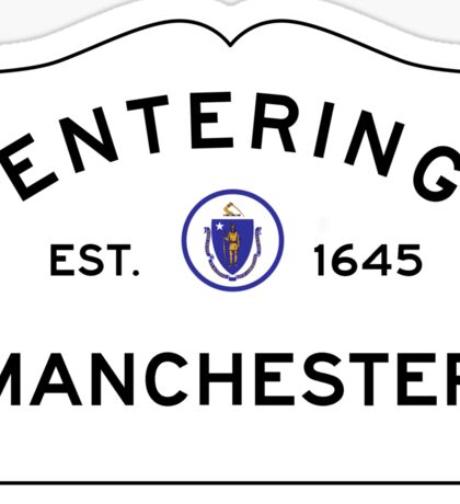Entering Manchester - Commonwealth of Massachusetts Road Sign Sticker