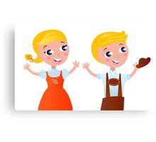 Bavarian couple isolated on white : folk style for Octoberfest - design original Canvas Print