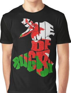 Wales Home of Rugby Calligram Map Graphic T-Shirt