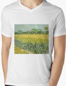 Vincent Van Gogh - Field With Flowers Near Arles, 1888  Mens V-Neck T-Shirt