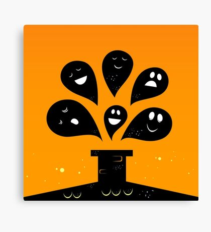 Collection of vector stylized Ghost creatures Canvas Print