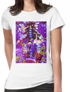 CHINA; Vintage Garden Art Scene Print Womens Fitted T-Shirt