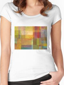 Color Collage with Green and Red Women's Fitted Scoop T-Shirt