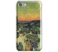 Vincent Van Gogh - Landscape With Couple Walking And Crescent Moon, 1890 iPhone Case/Skin
