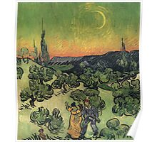 Vincent Van Gogh - Landscape With Couple Walking And Crescent Moon, 1890 Poster