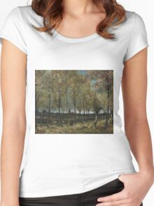 Vincent Van Gogh - Lane With Poplars, 1885 Women's Fitted Scoop T-Shirt