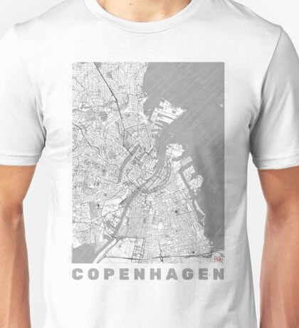 Copenhagen Map Line Unisex T-Shirt