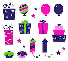 Cute icons collection in vibrant tones : birthday original gift collection Photographic Print