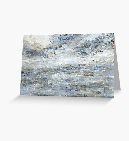 Abstract Seascape in Grey and Blue Greeting Card