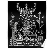 Santa Fe Garden – White Ink on Black Poster