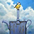 Cute Blue-Tit realistic painting bird portrait on watering can by LindaAppleArt