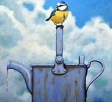 Cute Blue-Tit realistic bird portrait on watering can by LindaAppleArt