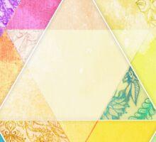 Retro Rainbow Patchwork Hexagon Sticker