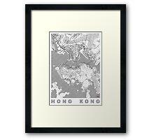 Hong Kong Map Line Framed Print