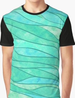 Green Waves Ocean Abstract Graphic T-Shirt