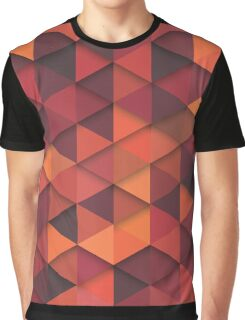 Abstract Cubes - Orange Graphic T-Shirt