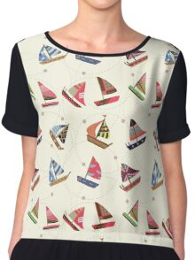 Nautical Little Ships Pattern Women's Chiffon Top
