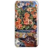 Pierre-Auguste Renoir - Geraniums And Cats  iPhone Case/Skin