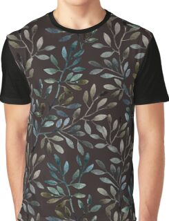 Midnight Watercolor Leaves Pattern Graphic T-Shirt