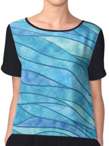Blue Waves Ocean Abstract Chiffon Top
