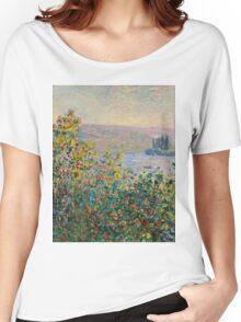 Claude Monet - Flower Beds at Vetheuil (1881)  Women's Relaxed Fit T-Shirt