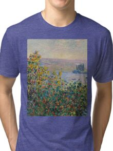 Claude Monet - Flower Beds at Vetheuil (1881)  Tri-blend T-Shirt