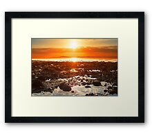 reflections at rocky beal beach Framed Print