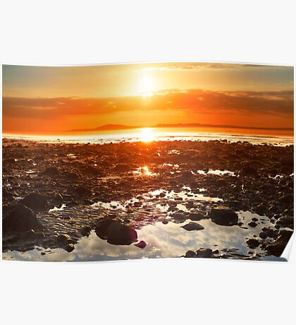 reflections at rocky beal beach Poster