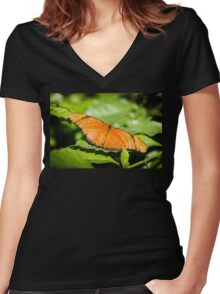 Julia Heliconian Dryas Julia Women's Fitted V-Neck T-Shirt