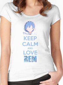Keep calm and love Rem Women's Fitted Scoop T-Shirt