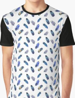 Small feathers, beautiful colourful collection in watercolour in blues - cute bold animal print design, classic statement fashion clothing, soft furnishings and home decor  Graphic T-Shirt