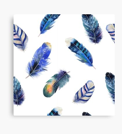 Small feathers, beautiful colourful collection in watercolour in blues - cute bold animal print design, classic statement fashion clothing, soft furnishings and home decor  Canvas Print