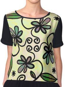 Abstract Floral Flower Style Chiffon Top