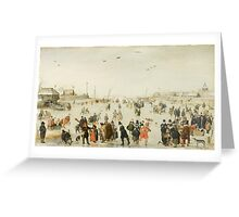 Hendrick Avercamp - Winter Scene on a Frozen Canal Skate Greeting Card