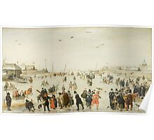 Hendrick Avercamp - Winter Scene on a Frozen Canal Skate Poster