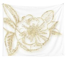 glitter,glam,gold,flower,floral,design,on white background,trendy,modern,chic,elegant Wall Tapestry