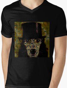 Cool,Dog damask,dog with top hat,fun,modern,trendy,contemporary digital art Mens V-Neck T-Shirt
