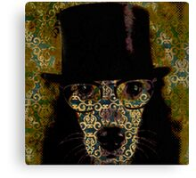 Cool,Dog damask,dog with top hat,fun,modern,trendy,contemporary digital art Canvas Print