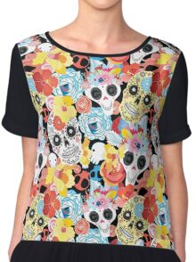Cool pattern funny skulls Chiffon Top