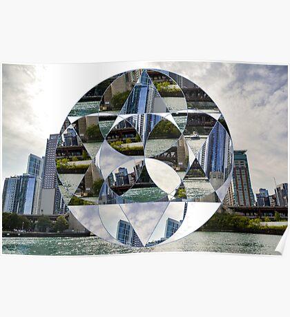 Geometric Chicago Skyline Poster